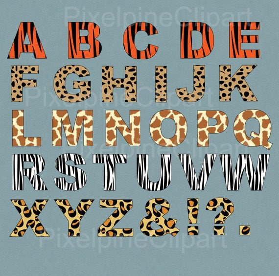 Animal Print Alphabet Clipart, Leopard Print Letters, ABC ...  Leopard