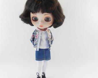 Blythe clothes, Blythe outfit, bomber jack, t-shirt and denim skirt for Blythe
