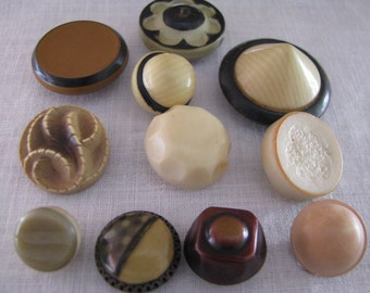 11 Assorted Vintage Celluloid Plastic Buttons