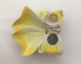 Mid Century Vintage Ceramic Fairy Lipstick Holder
