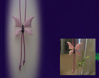 Pink butterfly. Necklace-pendant Butterfly pink.