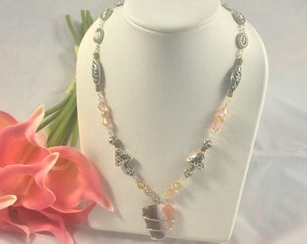 handmade necklace, silver wire work, smoky quartz pendant, Mother's Day gift,gift for her, jewelry, necklace,