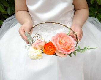 NEW IN Pink peony silk flower crown, wedding flower wreath