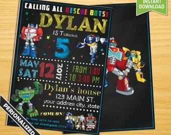 Rescue bots invitation, Rescue bots birthday invitation, Rescue bots chalkboard invitation, Rescue bots party invitation