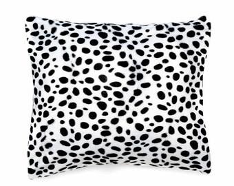 Decorative pillow, cushion cover, plush dalmation print fabric, throw pillow, home accessories, pillow cover, animal print cushion, cushion,