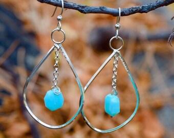 Peruvian Blue Opal Earrings Sterling Silver