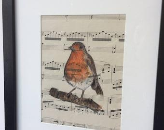 Robin - original illustration on vintage sheet music