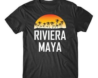 Riviera Maya Mexico Sunset Palm Trees Beach Vacation Shirt