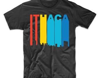 Retro 1970's Style Ithaca New York Skyline T-Shirt