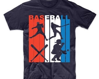 Retro Style Red White And Blue Baseball T-Shirt