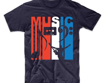 Retro Style Red White And Blue Music T-Shirt