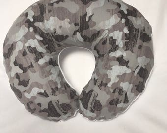 Nursing pillow cover, Boppy Cover, Chenille and Flannel Camo Cover, Baby Shower Gift