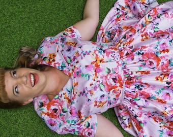 Lynette | Vintage Style Tea Dress | Floral Dress | Spring Dress | 1950s Dress | Pink Dress | Bridesmaid Dress | Pinup Dress