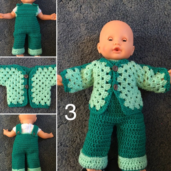 Made to order crochet Dolls.Dungrees set or indvidual. 18-22 inch size dolls i.e Baby Annabelle and Baby born