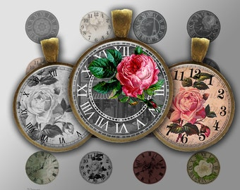 Digital Collage Sheet - Vintage Clocks - Instant Download 20mm, 25mm, 30mm Printable Images For Jewellery Making