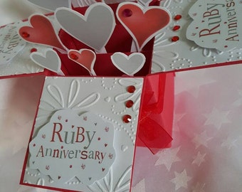 Ruby anniversary card - can be personalised