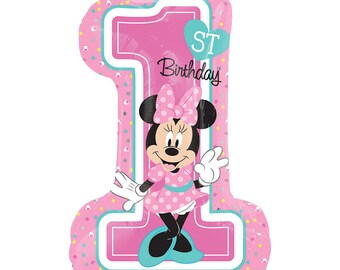 "Minnie Mouse 1st Birthday Balloon 28"", First Birthday Girl, Minnie Mouse Birthday Balloon,"
