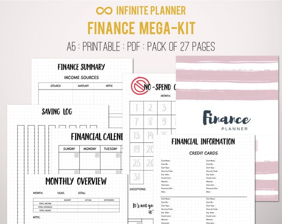 Finance Mega-Kit - Financial Planner, Personal Finance, Budget Planner, Bill tracker - Bullet Journal Printable