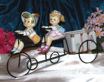 Rare Vintage Japan Adorable  Boy Girl Bicycle for Two Figurines Planter Head vase Perfect Condition
