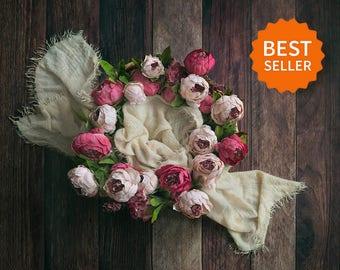 Newborn digital backdrop. Newborn basket, flowers and wood floor. Instant download, jpg file