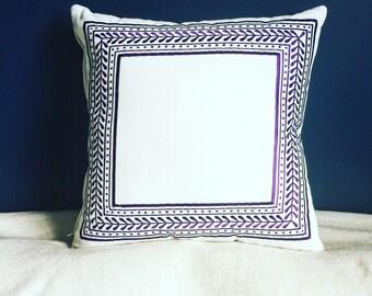 Purple Leaf Embroidered Pattern Cushion