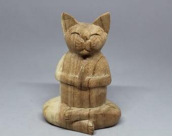 Kiyo The Namaste Cat: Hand-carved Meditating Zen Yoga Buddha Kitty