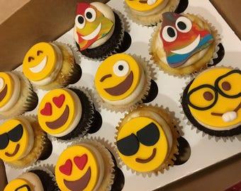Emoji Fondant Cupcake Toppers