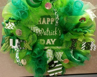 Happy St. Patrick's Day Deco Mesh Wreath, St. Patrick, green, ribbon, shamrock, irish, luck, St. Patrick's Day