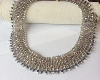 Bib necklace, statement necklace, collar necklace, crystal, limited edition, exclusive, choker necklace, netted necklace, wedding necklace