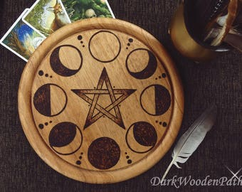 Pentacle with moon phases ~ moon phases pentacle ~ wood