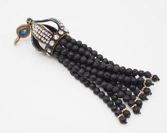 Tassel Pendant with Black Lava Naturel Stone Jewelled, Authentic Jewellery, Turkish Jewellery, Beaded Tassel, Antique Bronze Tassel Cap, A6