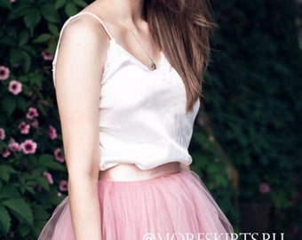 Tulle skirt with matching lining, fixed waistband with hidden zipper (color - 14 Baby pink)