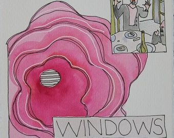 Windows. Fine Art, Painting, Silly Art, Gift Art, Small Art, Watercolor