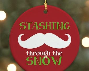 Stashing Through the Snow - Mustache Ornament