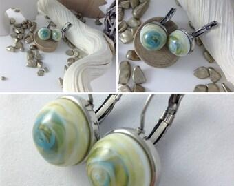 Earrings sleepers short crimping flat steel stainless ivory green spun blue handmade glass cabochon