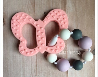Silicone Teething Toy, Teether, Butterfly, Pink, Purple, Grey, Gray, Round, Chewlery, Sensory Toy, Fidget Toy, Baby Shower, New Mom
