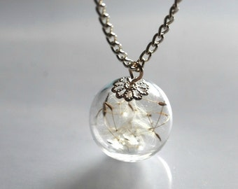 Dandelion Necklace 925 Sterling Silver Plated Chain Solid Eco Resin Make A Wish Orb Silver Necklace Botanical Globe Beadwork