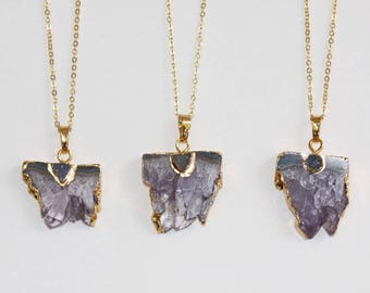 Amethyst necklace / necklace gold plated Amethyst quartz raw paved an agate / slice amethyst quartz necklace