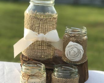 4 x Decorated Glass Wedding Jars ~ Ivory ~ Vintage/Rustic/Beach/Winery Weddings