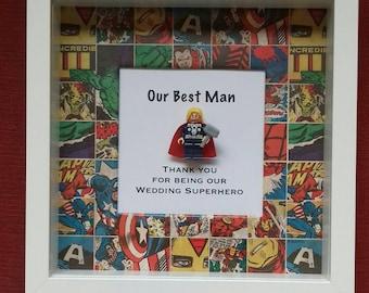 Wedding Best Man Superhero Avengers framed Minifigure gift Thank you for being a wedding superhero with thor iron man wolverine superman
