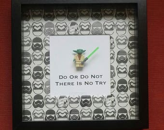 Star wars Yoda minifigure frame do or do not there is no try  perfect birthday anniversary special gift for any star wars Yoda fan