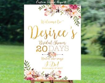 Bridal Shower sign, Bridal Shower Welcome Sign, Bridal Shower decoration, welcome wedding sign, Bridal shower invitation - US_BS0703