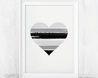 Heart Print, Heart Decor, Heart Wall Decor, Gray Decor, Gray Print, Gray Poster, Gray Art, Gray Design, Love Print, Love Art, Heart Poster