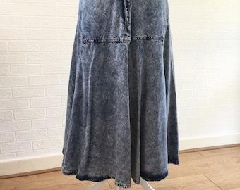 Jonny Q For Girls High Waisted Long Maxi Full Circle Swing Stoned Acid Washed Blue Denim Skirt / Size 16 / Retro Skirt /Vintage Skirt /1980s