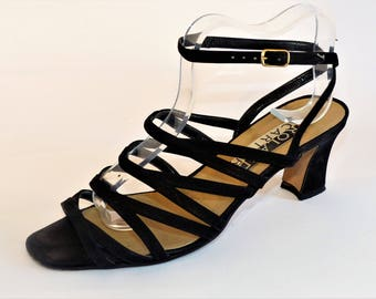 Roland Cartier Black Suede Heel Sandals/Retro Sandals/Vintage Sandals/UK Size 5/1990s