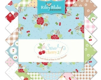 """Riley Blake Sew Cherry Fabric Collection - 5"""" squares, 42 pieces"""