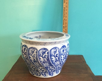 Blue and White Vintage Asian Vase/Bowl, Asian Ceramic Vase, Asian Decor