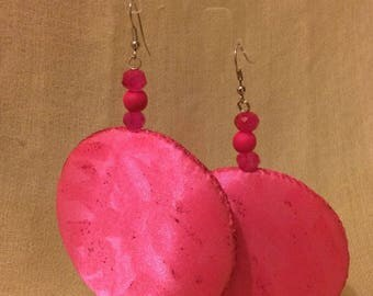 Satin Large fluorescent pink earrings