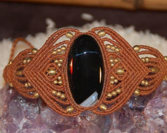 Black Onyx macramè bracelet