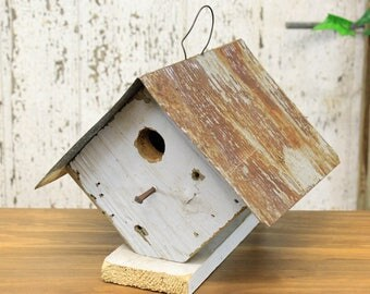 Rustic Wooden Wren Birdhouse With Tin Roof (4 Assorted Colors) Gary, Natural, White, Red